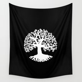 black and white abstract tree of life II Wall Tapestry