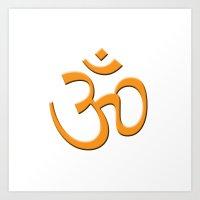 hindu Art Prints featuring Hindu om by gbcimages