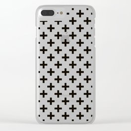 Criss Cross | Plus Sign | Black and White Clear iPhone Case