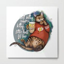 Soft kitty warm kitty little ball of fur galaxy cat Metal Print