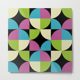 Mid Century Modern Geometric Pattern 442 Black Cyan Olive Purple and Beige Metal Print