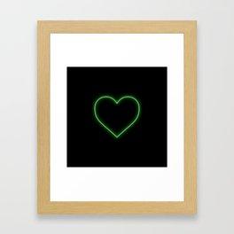 Neon Green Valentines Love Heart Framed Art Print