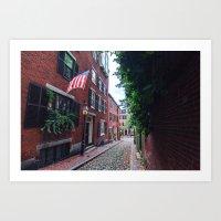 Acorn Street in historic neighborhood Beacon Hill, Boston Art Print