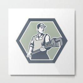 Plumber Holding Plumbing Wrench Retro Metal Print