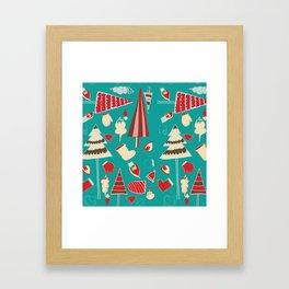 Vintage Christmas Teal Framed Art Print