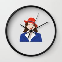 agent carter Wall Clocks featuring Agent Carter Vector by Missiieey