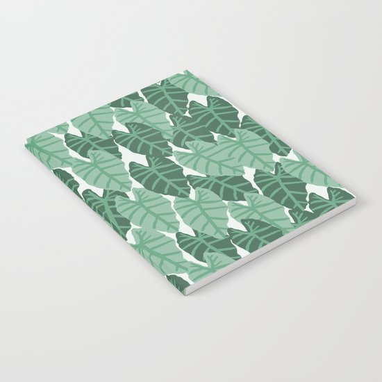 Alocasia indoor house plant hipster watercolor plant pattern botanical leaves green painting home Notebook