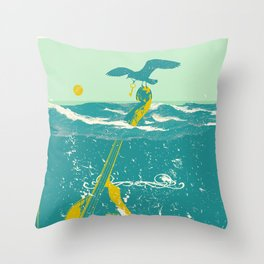 SINKING CELLO (blue) Throw Pillow