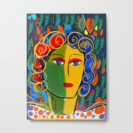 The Green Yellow Pop Girl Portrait Metal Print