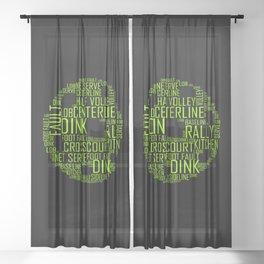 Pickleball Ball Art Words Sheer Curtain