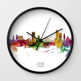 Liege Belgium Skyline Wall Clock