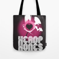 headphones Tote Bags featuring ♥ HEADPHONES by THE SILENT P // Matthew Pfahlert