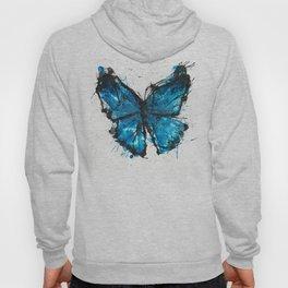 Blue butterfly ink splatter Hoody