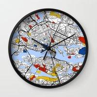 mondrian Wall Clocks featuring Stockholm mondrian by Mondrian Maps