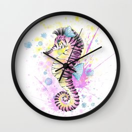 Seahorse Zebra Watercolor Splash Wall Clock