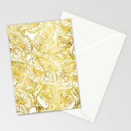 Elegant chic gold foil hand drawn floral pattern Stationery Cards