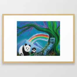The Panda The Cat and The Rainbow Framed Art Print