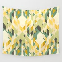 yetiland Wall Tapestries featuring des-integrated tartan pattern by Yetiland