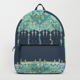 Art Deco Double Drop in Blues and Greens Backpack