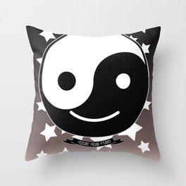 Emotional Balance // Yin Yang Smiley Face //Smilie Throw Pillow