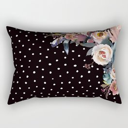 Boho Flowers and Polka Dots on Black Rectangular Pillow