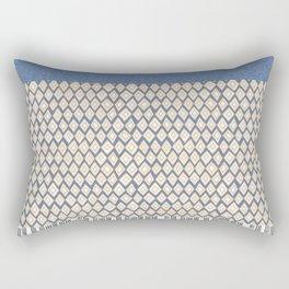 Blue Ethnic Snake Print Rectangular Pillow