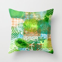 Patchwork in green and bronze  Throw Pillow