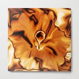 abstract flower metal golden Metal Print