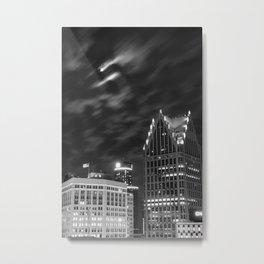 Downtown Detroit nder Fall Moonlight Metal Print