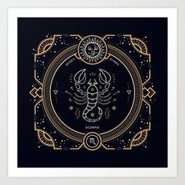 Scorpio Zodiac Golden White on Black Background Art Print