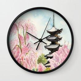Japanese Temple Watercolor Painting print by Suisai Genki , To-ji, Kyoto , Sakura , Cherry blossom Wall Clock