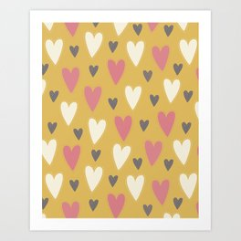 Colorful Hearts Pattern - Yellow Art Print