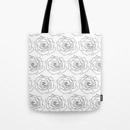 Minimal Line Rose Pattern Wallpaper Background Black and White Tote Bag
