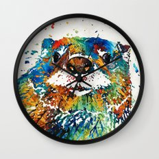 Otter Art - Ottertude - By Sharon Cummings Wall Clock