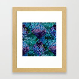 Psycho - Patchwork Quilt with Alternating Blue, Green, Purple Colors by annmariescreations Framed Art Print