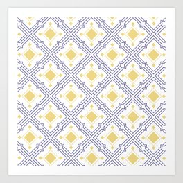 Mediterranean Tiles Blue and Yellow Art Print