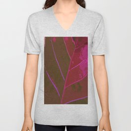 Leaf Texture in Red Unisex V-Neck