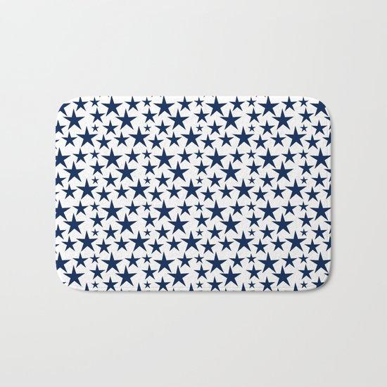 Blue stars on white background illustration Bath Mat