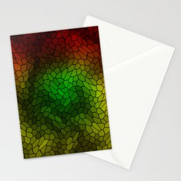 Volumetric texture of pieces of gold glass with a dark mysterious mosaic. Stationery Cards