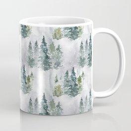 Watercolor forest green snow Christmas pine tree Coffee Mug