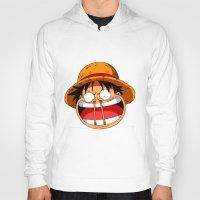 luffy Hoodies featuring Luffy & Nose Sticks! by Orfik
