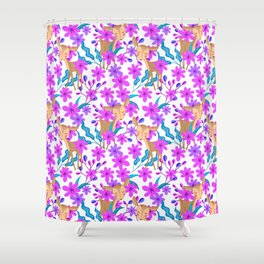 Cute little baby deer fawns lost in the forest of delicate pink flowers pattern. Shower Curtain