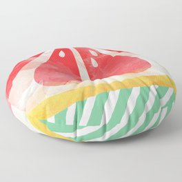 Red Grapefruit Abstract Floor Pillow