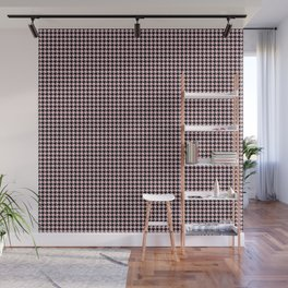 Soft Pastel Pink and Black Hounds tooth Check Wall Mural
