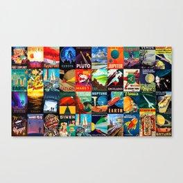 Mosaic - retro space travel Canvas Print