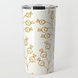 Golden floral pattern on cream Travel Mug