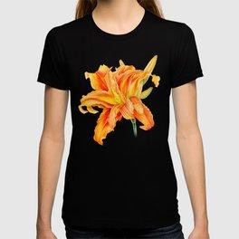 Double Daylily Hemerocallis orange watercolor T-shirt