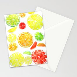 colorful citrus fruit watercolor Stationery Cards