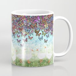butterfly cascade and white geese Coffee Mug