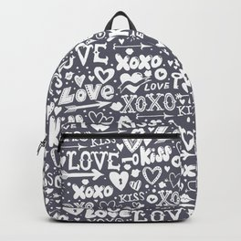 Love doodles in neutral grey and white Backpack